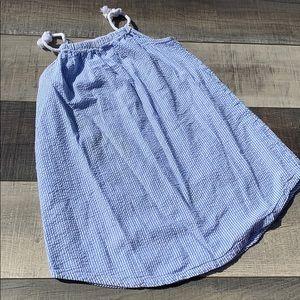 Blue white ribbed dress